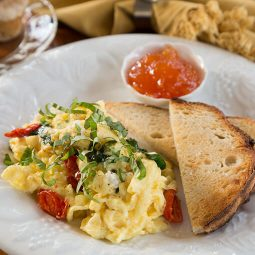 Breakfast with toast and eggs
