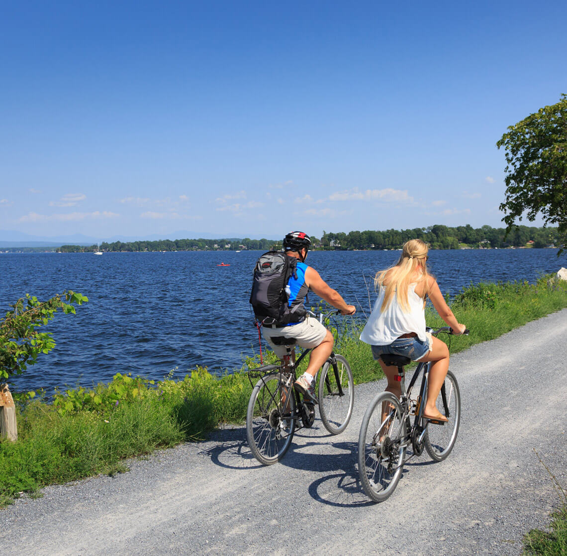 Couple biking in Burlington, VT