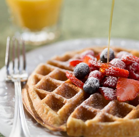 Waffle and berries for breakfast at the Lang House