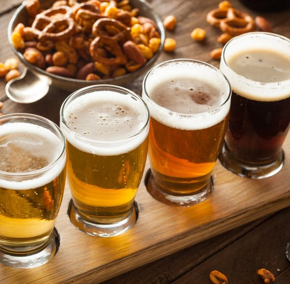 Flight of beers at a brewery