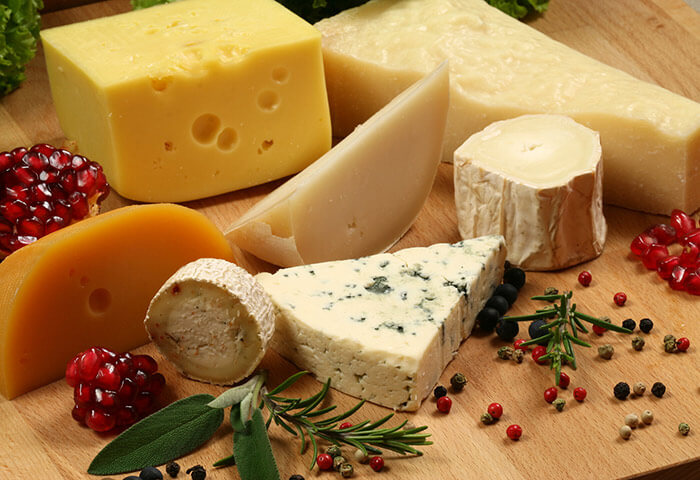 Plate of different cheeses