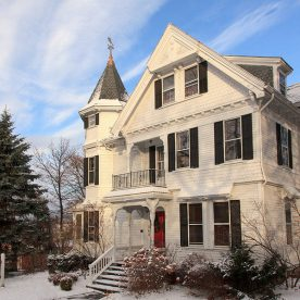 Lang House exterior in the winter