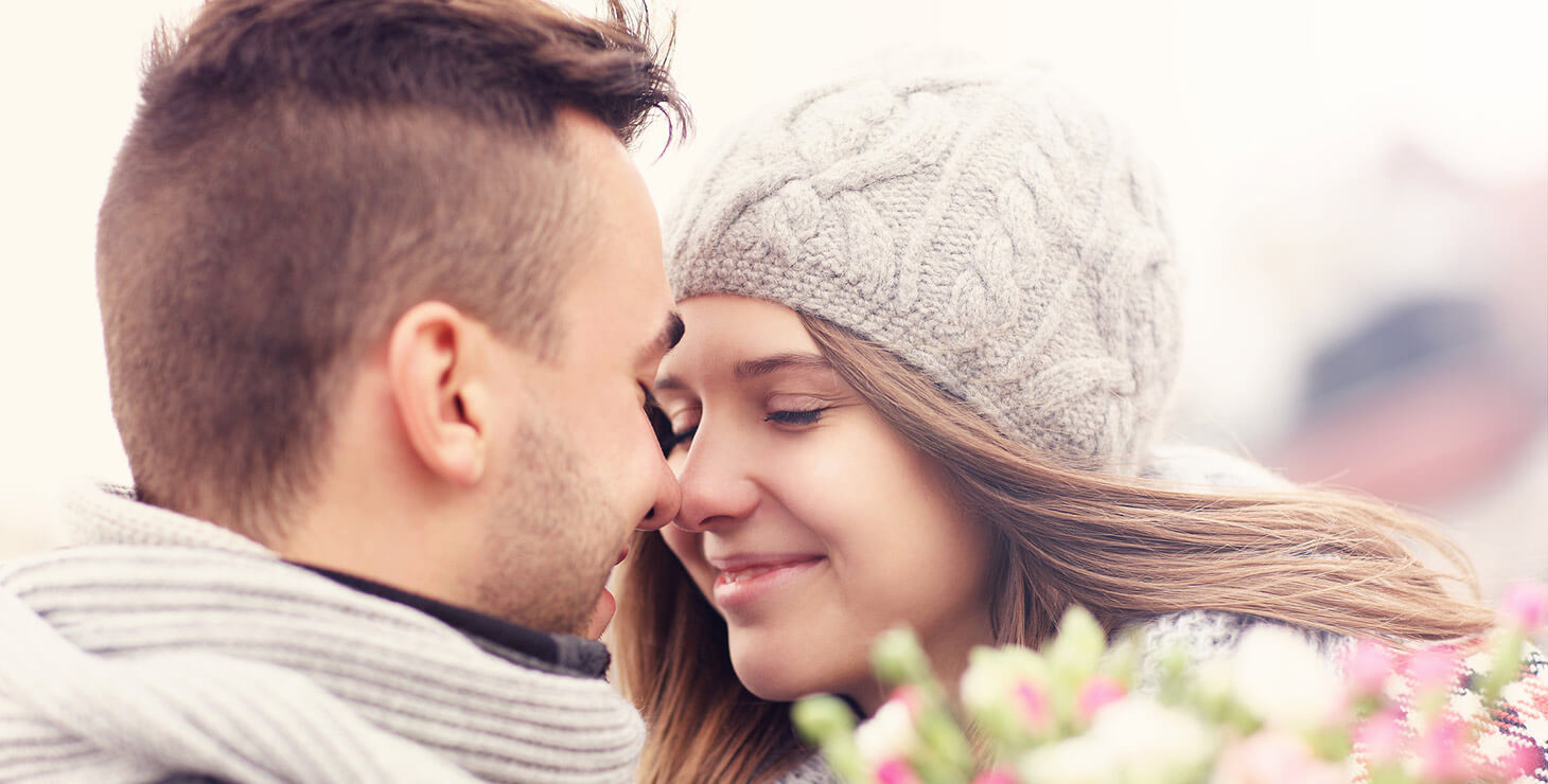 Romantic couple in the winter