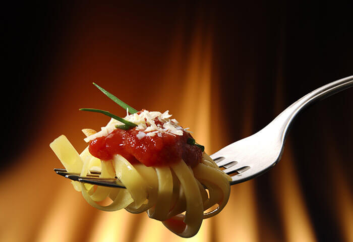 Italian pasta on a fork
