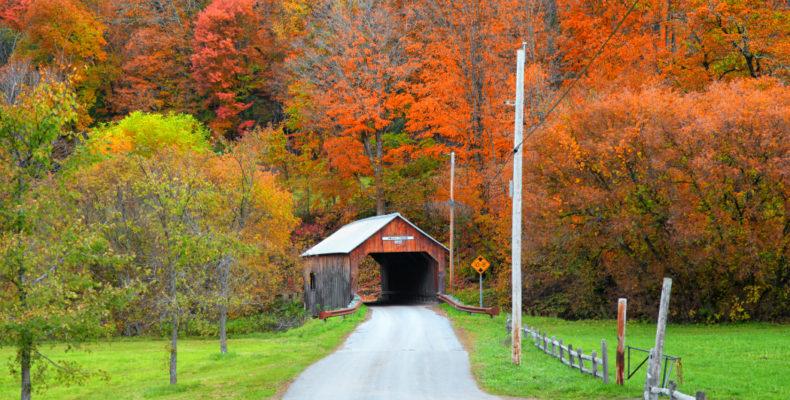 Covered Bridge Amongst Colorful Fall Foliage