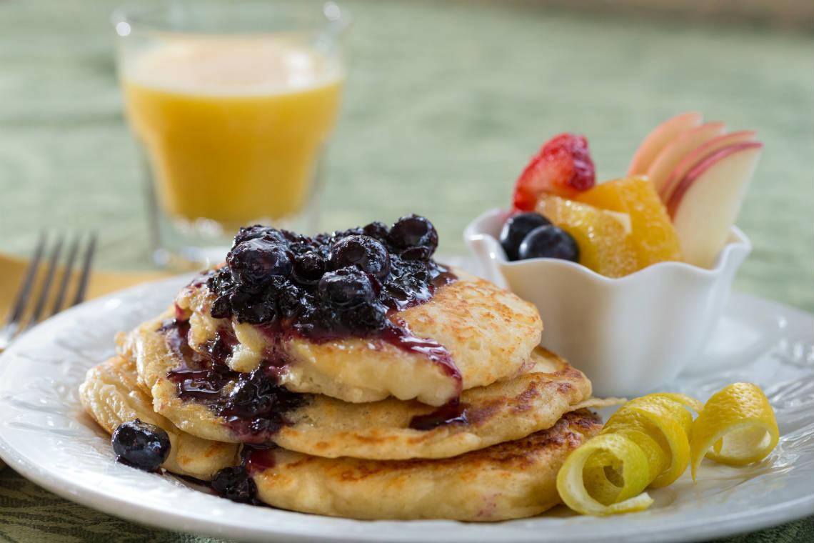 Lemon Ricotta Blueberry Pancakes at Lang House on Main Street