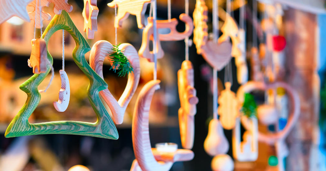 Holiday ornaments and crafts display