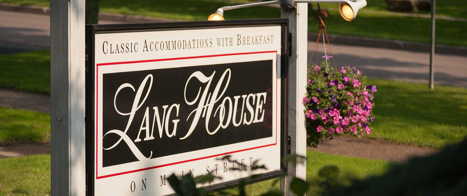 Lang House Inn Sign in Burlington, Vermont